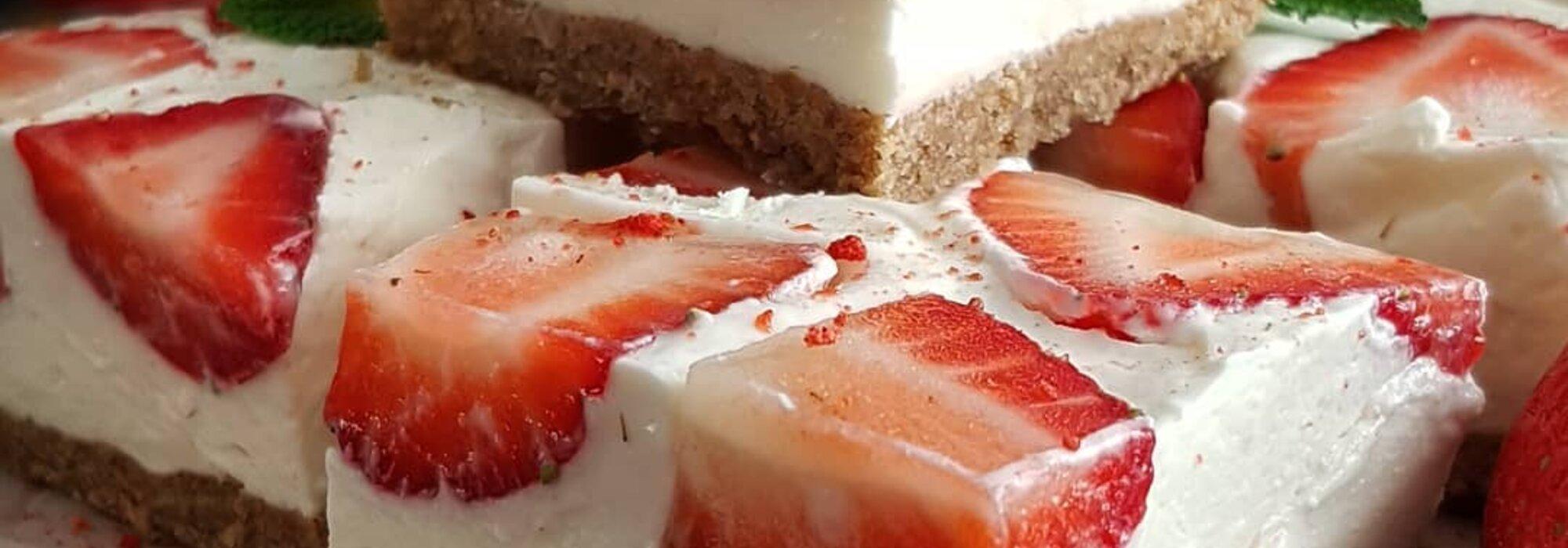 Suikervrije no bake strawberry cheesecake