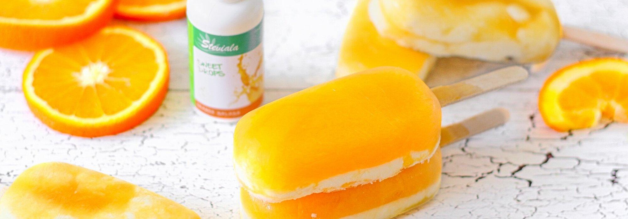 Koolhydraatbeperkte Orange Splash ijsjes