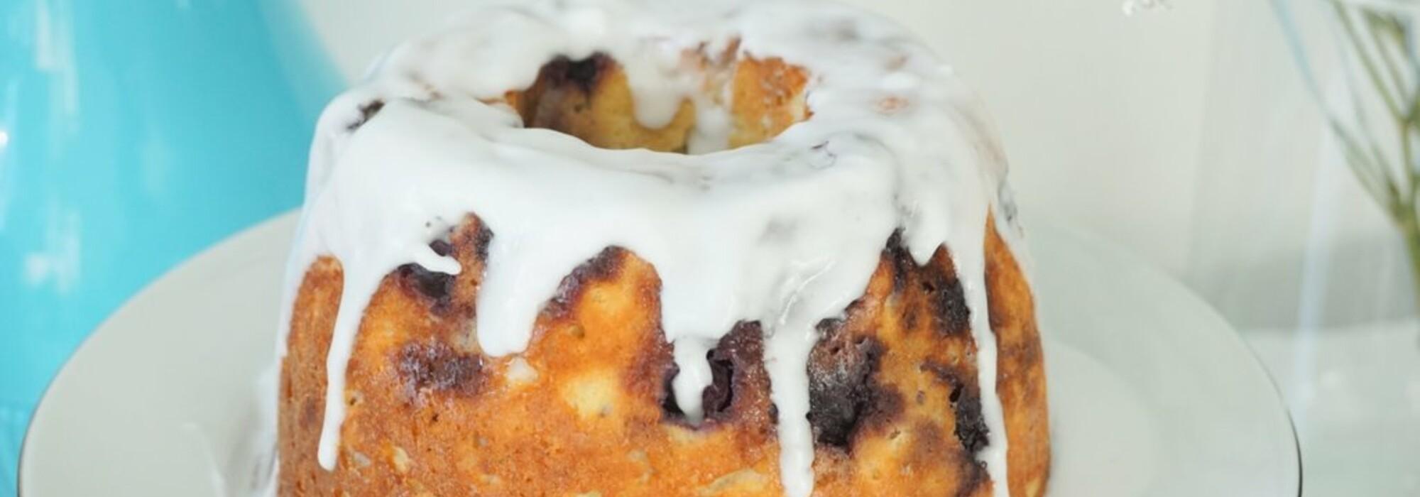Koolhydraatarme en suikervrije blauwe bessen cake