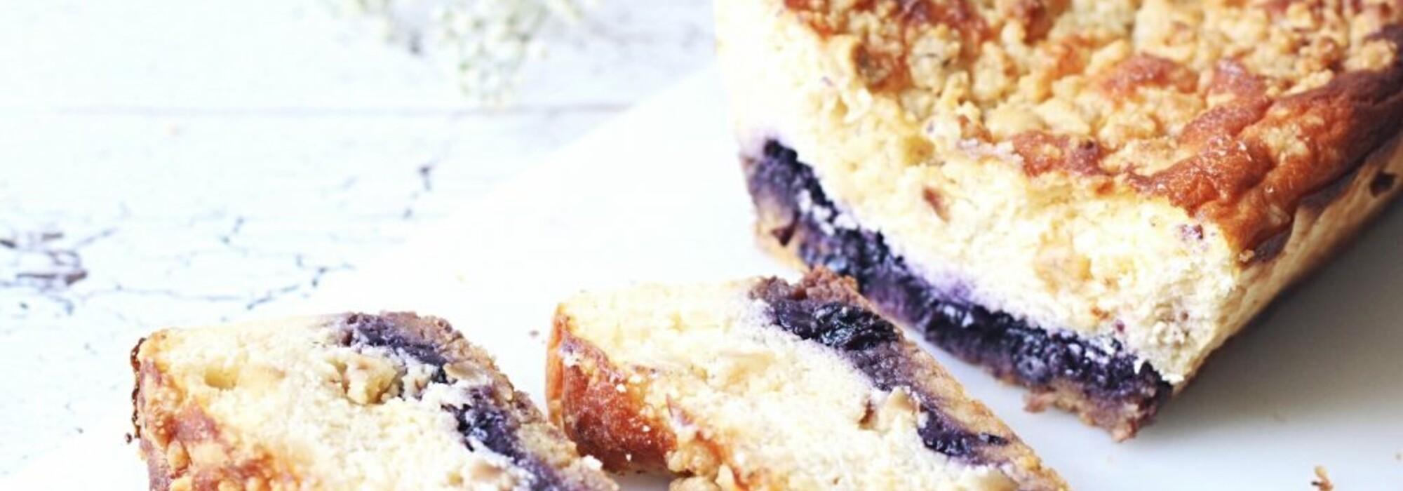 Suikervrije blauwe bessen-citroen cheesecake