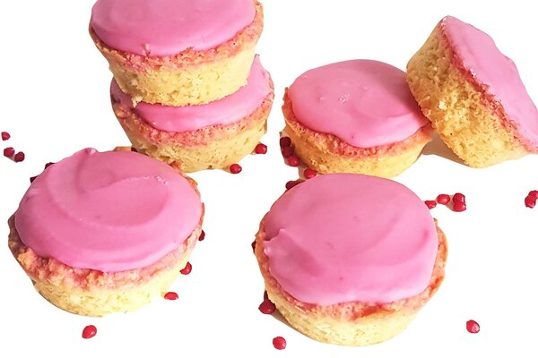 Koolhydraatarme roze koeken