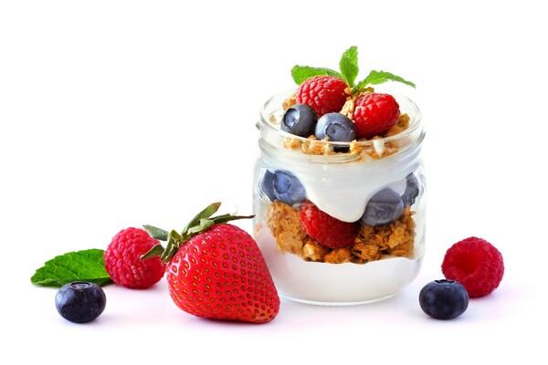 Suikervrije yoghurt parfait