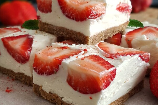 Suikervrije no bake strawberry cheesecake
